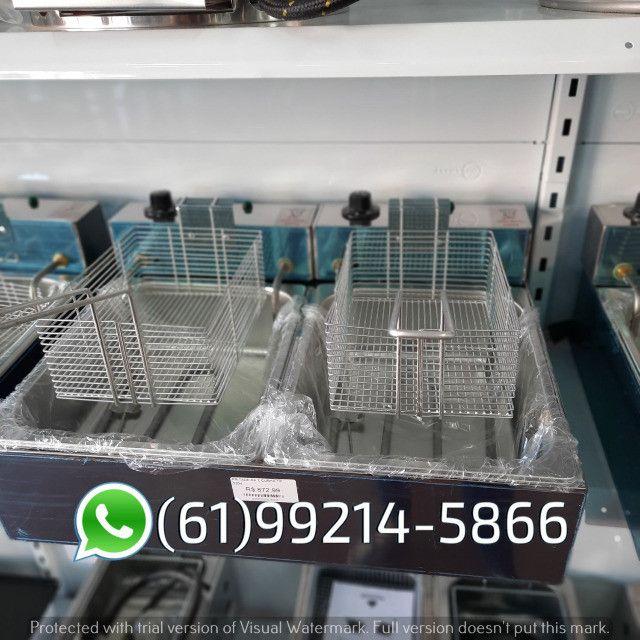 Fritadeira 10 Litros 2 Cubas Inox Quadrada 300 graus Elétrica Irmãos Ribeiros - Foto 5