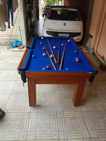 Mesa Tentação 1,93 x 1,18 Cor Imbuia Tecido Azul Mod. ZCZQ9000 - Foto 3