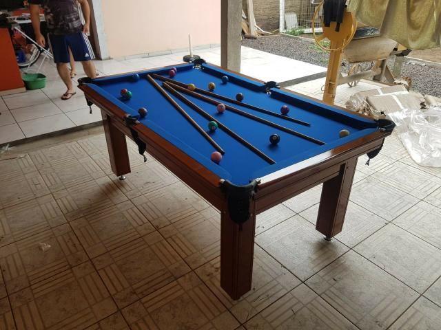 Mesa Tentação 1,93 x 1,18 Cor Imbuia Tecido Azul Mod. ZCZQ9000 - Foto 2