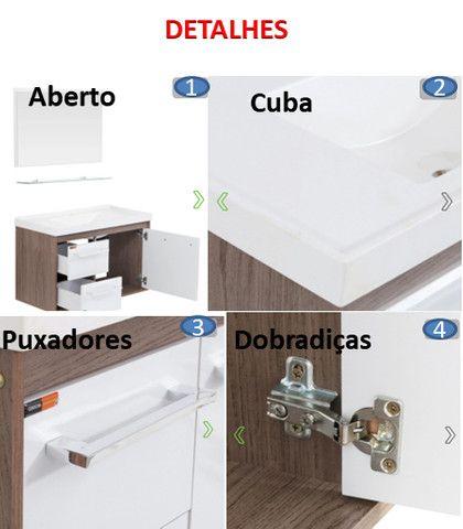 Conj. Procion 63cm - Gabinete de Banheiro + Espelheira + Suporte Vidro e Cuba - 100% MDF - Foto 3