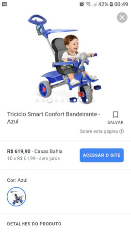Triciclo smart confort bandeirande azul