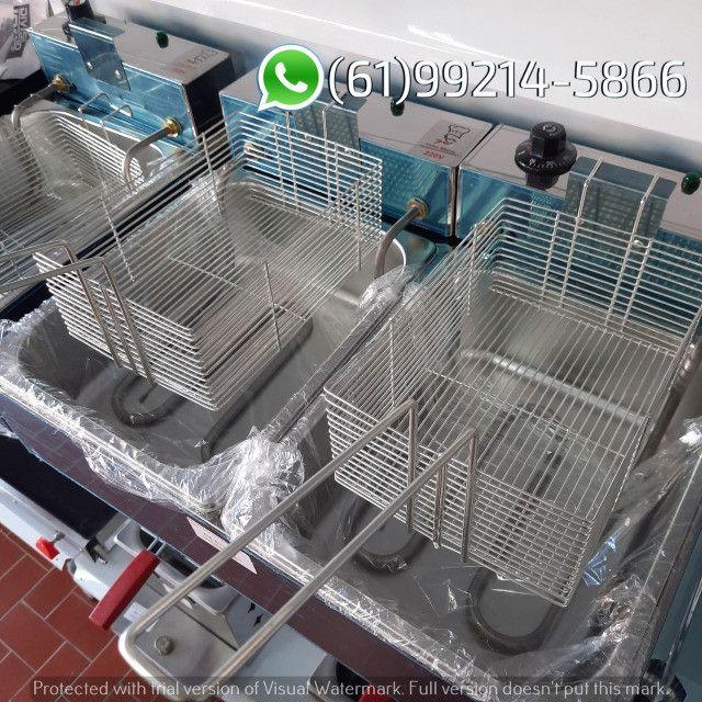 Fritadeira 10 Litros 2 Cubas Inox Quadrada 300 graus Elétrica Irmãos Ribeiros