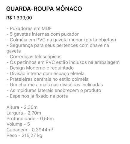 Roupeiro Mônaco - Foto 3