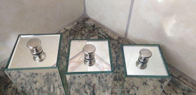 Potes com tampa espelhados 3 pecas  - Foto 3