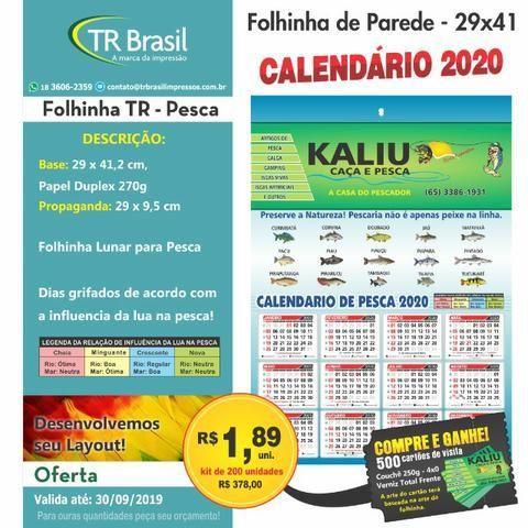 Calendario Pesca 2020.200 Calendario Folhinha Pesca 29x41