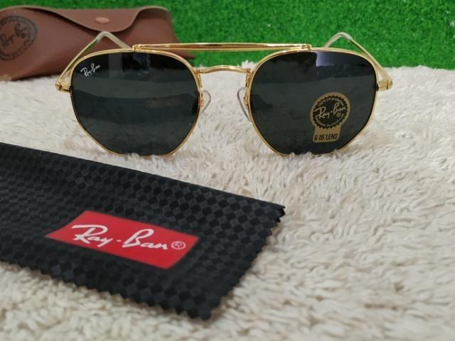 Óculos Ray Ban dourado com lente preta - Bijouterias, relógios e ... 774c590f3b
