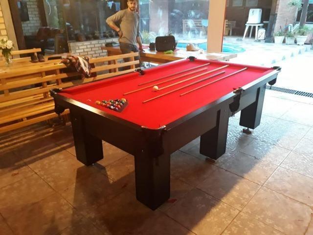 Mesa de Bilhar Cor Preta Tecido Vermelho Tx Modelo CRT6325