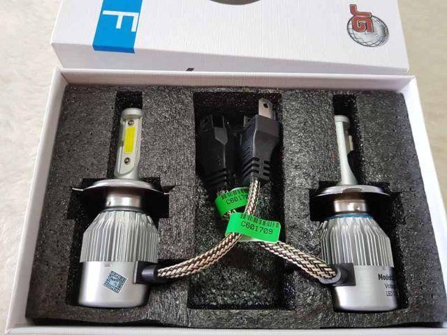 Lampada LED Farol H4 7200LM de potencia 72W com COOLER (1 UNIDADE MOTO) Super Branca LED