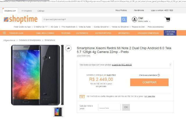 Xiaomi note 2 - tela trincada
