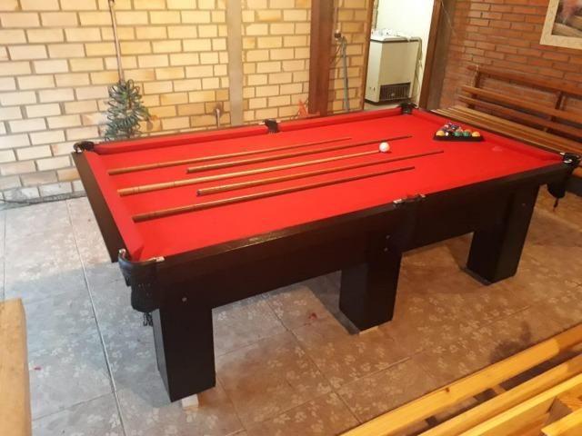 Mesa de Bilhar Cor Preta Tecido Vermelho Tx Modelo CRT6325 - Foto 3