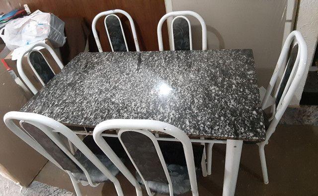 Mesa de mármore 6 cadeiras - Foto 3