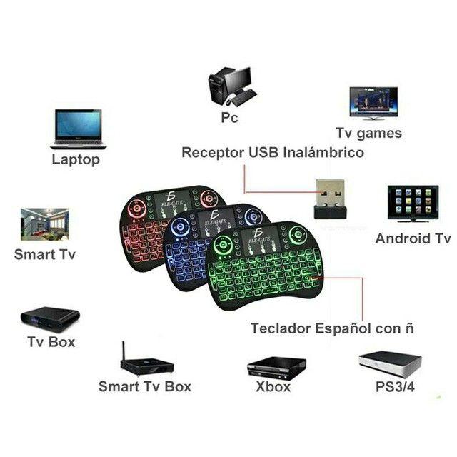 Mini Teclado Controle Sem Fio Para Smart Tv Tv Box Pc Celular - Foto 3
