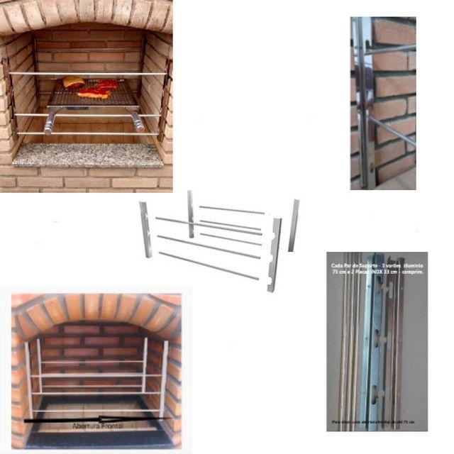 Suporte grelha e espetos churrasqueira inox com varão alumínio frente e fundo - Foto 4