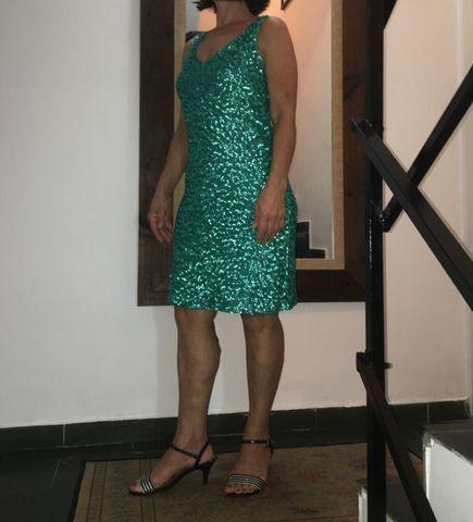 Vestido tubinho PAETÊ( Verde Esmeralda )