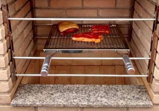 Suporte grelha e espetos churrasqueira inox com varão alumínio frente e fundo - Foto 3