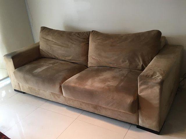 Sofá confortável em suede 2.22m