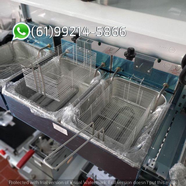Fritadeira 10 Litros 2 Cubas Inox Quadrada 300 graus Elétrica Irmãos Ribeiros - Foto 3
