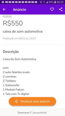 Caixa de Som Automotiva $500 - Foto 2