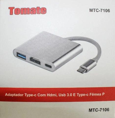 Conversor USB Tipo C para Hdmi Hub Tipo C Multi Função Funciona em MAC- Loja Natan Abreu - Foto 6