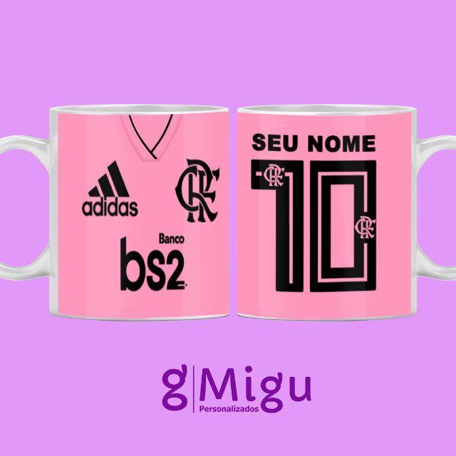Caneca do Flamengo rosa Caneca personalizada do Flamengo rosa / xícara caneca porcelana