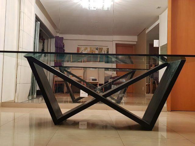Mesa Jantar / Tampo em Vidro 19 mm / Pés em