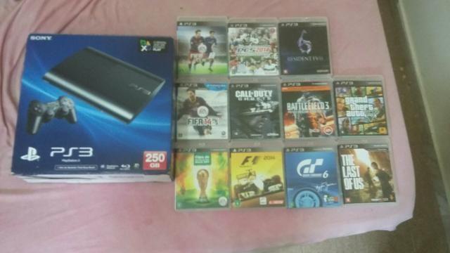 PS3 250gb travado mais 11 jogos