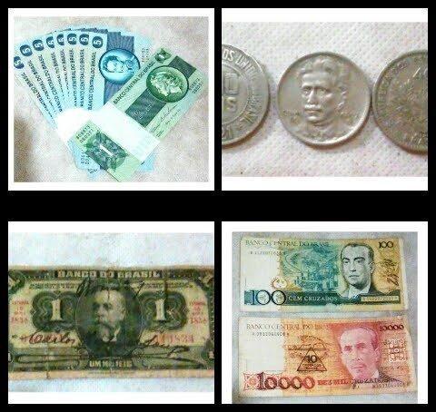 Cédulas e moedas antigas