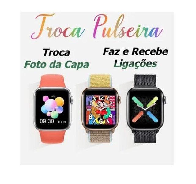 Relógio Inteligente X7 Versão Atualizada Recebe Faz Chamadas Rosa - Foto 2