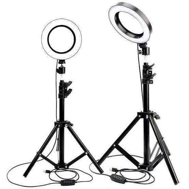 Iluminador RING LIGHT 26 cm com Tripé  + suporte central - Foto 2