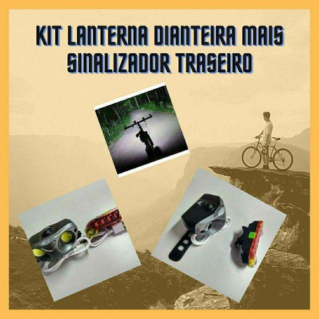 Kit Lanterna e sinalizador recarregável bicicleta