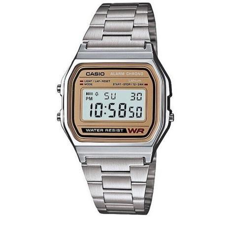 Relógio Casio prata com dourado