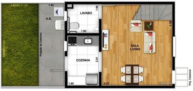 Casas de 50m² - 2 dormitorios - quintal de 12m² nos fundos - 1 vaga de garagem, com lazer - Foto 6