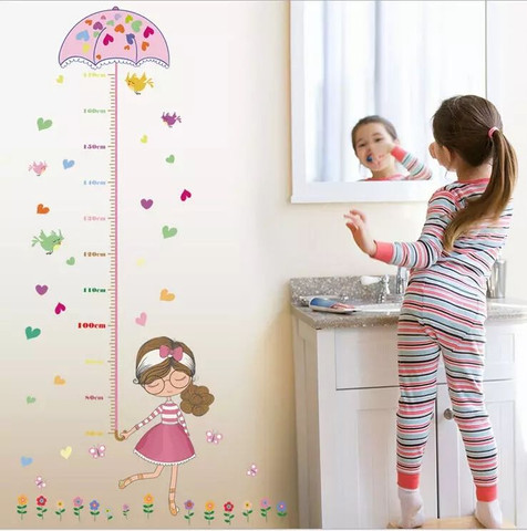 Adesivo de parede régua crescimento de meninas  - Foto 2