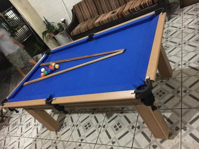 Mesa Tentação 4 Pés Laterais Cor Cerejeira Tecido Azul Mod. DEBF2454 - Foto 3