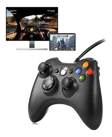 Controle Joystick Para Pc Ou Xbox 360 Com Fio Conexão Usb