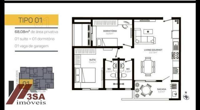 AP0186 Apto com 2 dorm.; 60 m², Bairro São Vicente - Itajaí/SC - Foto 10