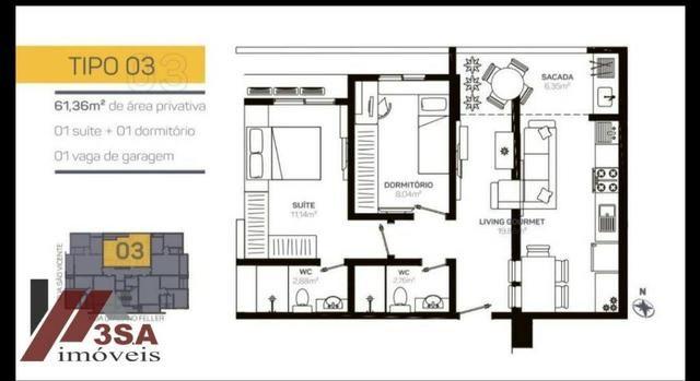AP0186 Apto com 2 dorm.; 60 m², Bairro São Vicente - Itajaí/SC - Foto 5