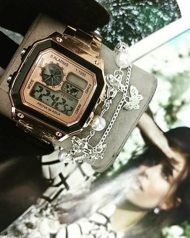 Somente sábado Kit relógio + pulseira so 29,99 - Bijouterias ... 21662c9765