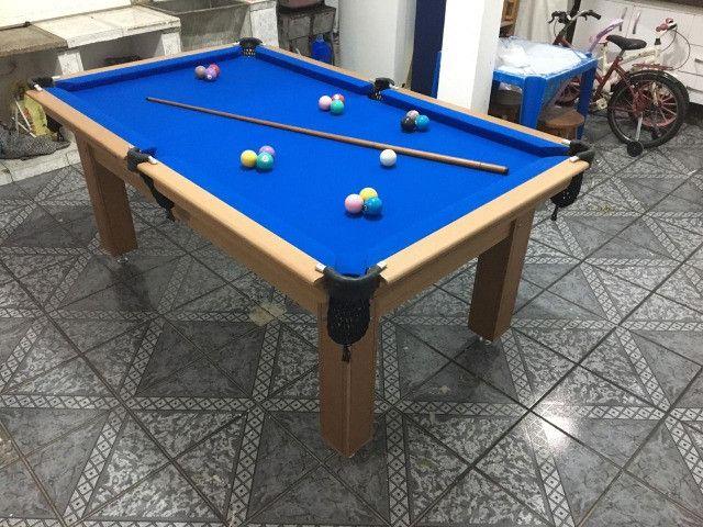 Mesa Tentação de 4 Pés Cor Cerejeira Tecido Azul Mod. TCLK2502 - Foto 3