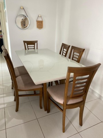 Vendem-se mesa e cadeiras (s/tampo de vidro) - Foto 2