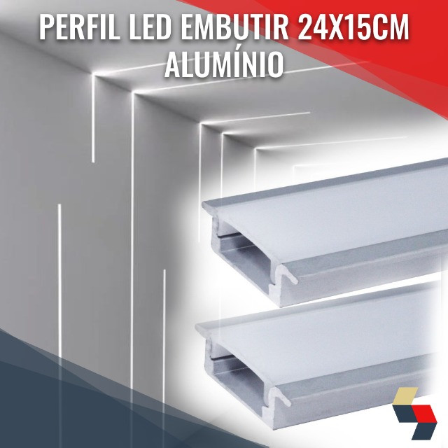 Perfil p/ led embutir prata 24x15cm 2m   Promoção!