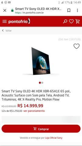 Smart tv oled 4k sony 65 xbr 1AE nova, na caixa