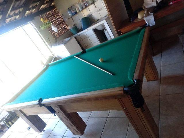 Mesa Madeira Caçapa Redes Cor Cerejeira Tecido Verde Mod. JYEQ7142 - Foto 2