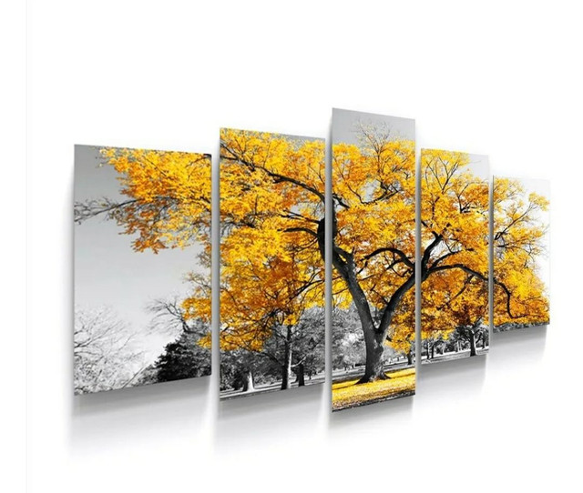 Quadros Decorativos árvore vida botânico sala quarto amarelo