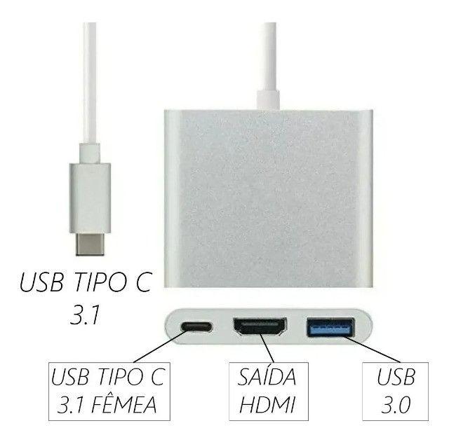Conversor USB Tipo C para Hdmi Hub Tipo C Multi Função Funciona em MAC- Loja Natan Abreu - Foto 2