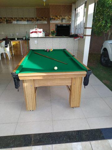 Mesa Madeira de Redes Cor Cerejeira Tecido Verde Mod. PZSN3160