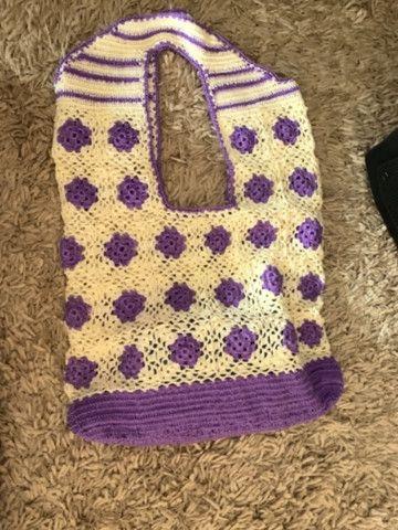 Bolsa de crochê nova - tecida com fios de seda - Foto 4