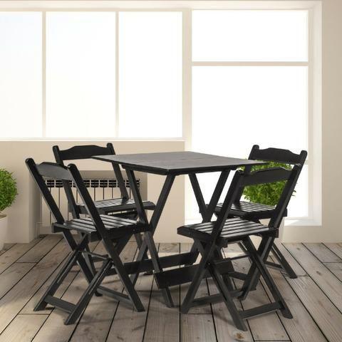 1 Mesa Quadrada de 70x70 com 4 Cadeiras Dobrável em Madeira de Lei de 309,00 por 249,00