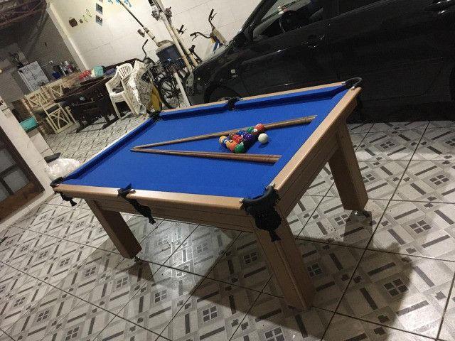 Mesa Tentação 4 Pés Laterais Cor Cerejeira Tecido Azul Mod. DEBF2454 - Foto 2