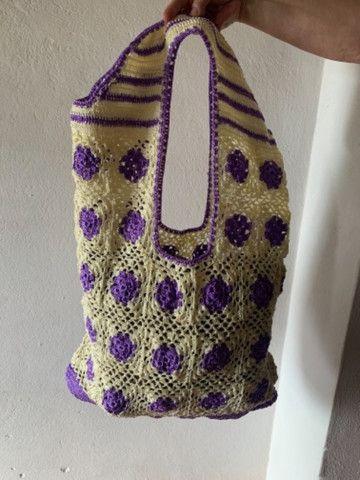 Bolsa de crochê nova - tecida com fios de seda - Foto 2